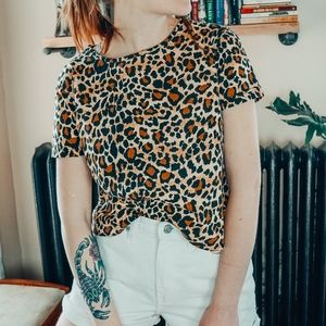 Vintage Liz Claiborne Cheetah Print  Boxy T-shirt